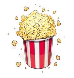 Popcorn in striped basket vector