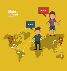 Poster of global people with yellow background vector