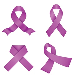 Purple awareness ribbons vector image vector image
