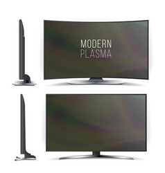 Screen lcd plasma television set curved vector