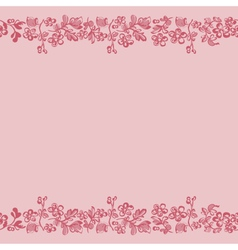 seamless border floral pink vector image vector image