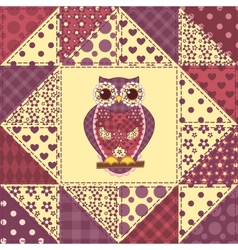Seamless patchwork owl pattern 2 vector