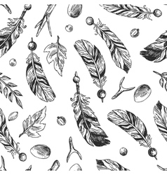 seamless pattern feathers vector image vector image