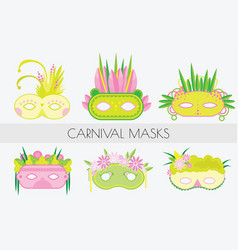 Set of carnival masks masquerade masks in flat vector