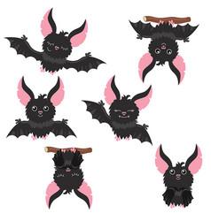 set of cartoon bats set of cartoon bats vector image vector image