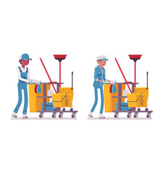 Set of male and female janitor pushing cart with vector