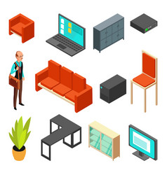 Set of office isometric icons sofa chair vector
