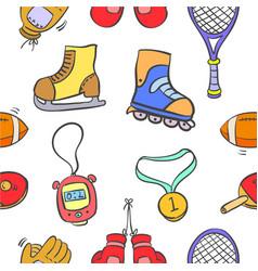 Sport equipment doodle vector