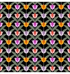 Tulips on black seamless back ground vector