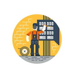 Worker with screwdriver fixing electricity box vector image vector image