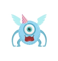 Blue winged friendly monster in party hat vector