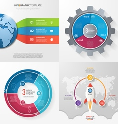 Set of 4 infographic templates with 3 processes vector