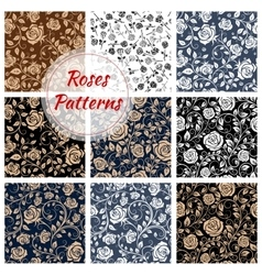 Rose flower seamless patterns set vector image