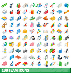 100 team icons set isometric 3d style vector