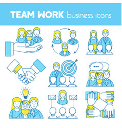 Teamwork set of line icons vector