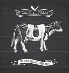 Butcher shop vintage emblem beef meat products vector