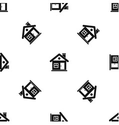 House pattern seamless black vector