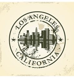 Grunge rubber stamp with los angeles california vector