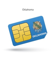 State of oklahoma phone sim card with flag vector