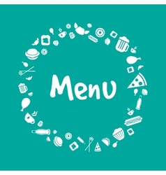 Blue menu cover design with food icons set vector