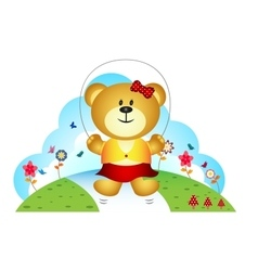 Little bear playing jump rope in the garden vector