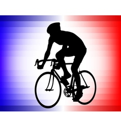 Bicyclist tricolor background vector