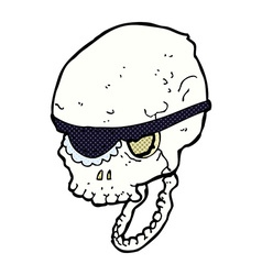 Comic cartoon spooky skull with eye patch vector
