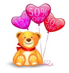 Teddy bear with balloons vector