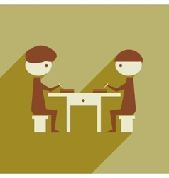 Flat web icon with long shadow business partners vector