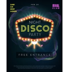 Night disco dance party poster with glowing frame vector