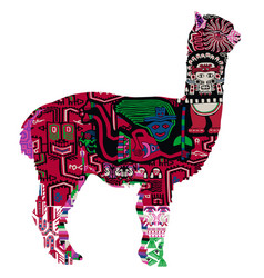 alpaca with peruvian pattern vector image