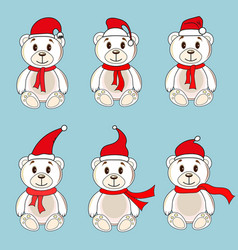 bears white labels with christmas hats of santa vector image