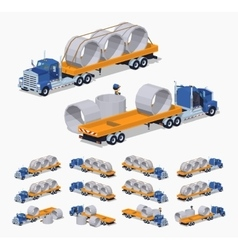 Blue heavy truck and yellow trailer with the vector image