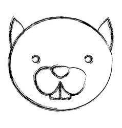 Blurred silhouette caricature face cute chipmunk vector