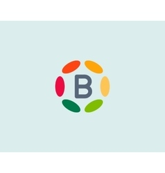 Color letter b logo icon design hub frame vector
