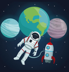 color space landscape background with astronaut vector image