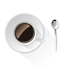 cup of coffee and spoon vector image