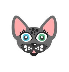 Cute grey cat head funny cartoon animal character vector