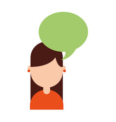 cute young girl with speech bubble avatar vector image vector image