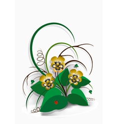 Delicate bouquet of yellow pansies vector image vector image