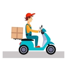 Delivery man on a bike vector