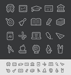 Education icons black background vector