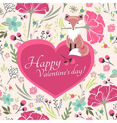 Floral valentines day card with cute little fox vector