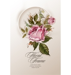 Floral wreath with vintage flowers vector image