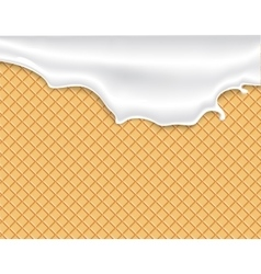Flowing white glaze on wafer texture vector image