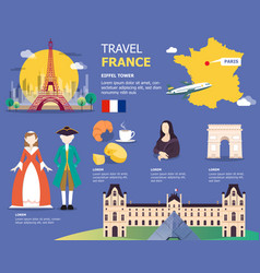 french map for traviling in france design vector image vector image