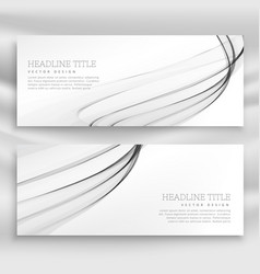 Gray wavy banners template set vector