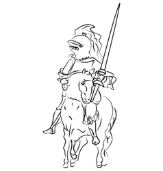ink sketch of a knight on the horse vector image vector image