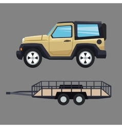 Jeep vehicle and trailer design vector
