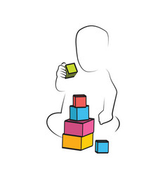 Kid playing toys blocks child development and vector